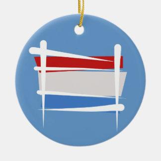 Luxembourg borstar flagga julgransprydnad keramik