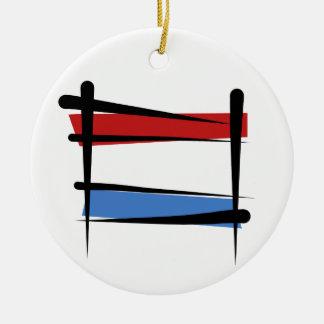 Luxembourg borstar flagga rund julgransprydnad i keramik