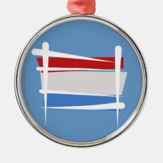 Luxembourg borstar flagga rund silverfärgad julgransprydnad