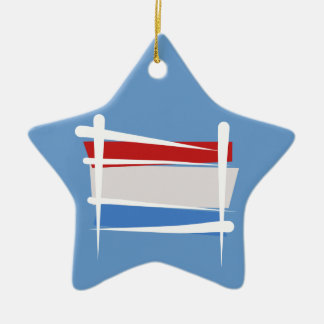 Luxembourg borstar flagga stjärnformad julgransprydnad i keramik