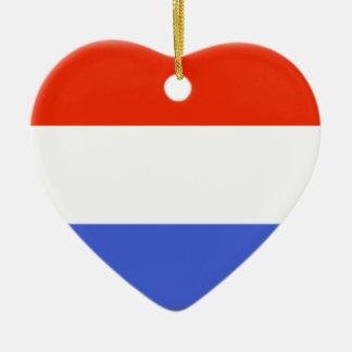 Luxembourg flagga hjärtformad julgransprydnad i keramik