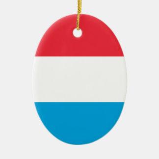 Luxembourg flagga - Lëtzebuerger Fändel - Drapeau Ovalformad Julgransprydnad I Keramik