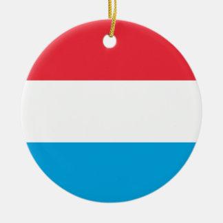 Luxembourg flagga - Lëtzebuerger Fändel - Drapeau Rund Julgransprydnad I Keramik
