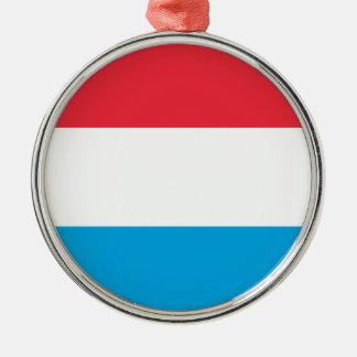 Luxembourg flagga - Lëtzebuerger Fändel - Drapeau Rund Silverfärgad Julgransprydnad