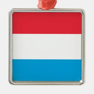 Luxembourg flagga - Lëtzebuerger Fändel - Drapeau Silverfärgad Fyrkantigt Julgransprydnad