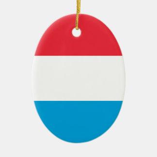 Luxembourg FLAGGA Ovalformad Julgransprydnad I Keramik