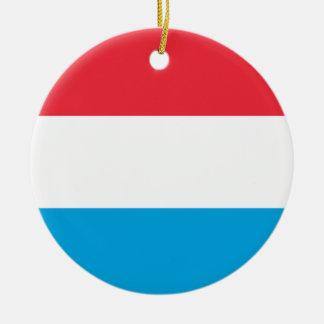 Luxembourg flagga rund julgransprydnad i keramik