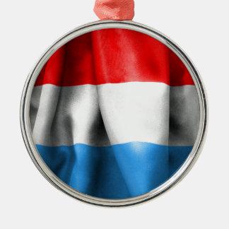 Luxembourg flagga rund silverfärgad julgransprydnad
