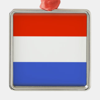 Luxembourg flagga silverfärgad fyrkantigt julgransprydnad