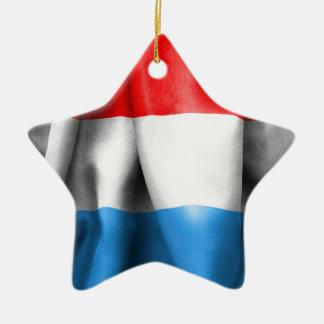 Luxembourg flagga stjärnformad julgransprydnad i keramik
