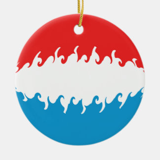 Luxembourg Gnarly flagga Rund Julgransprydnad I Keramik