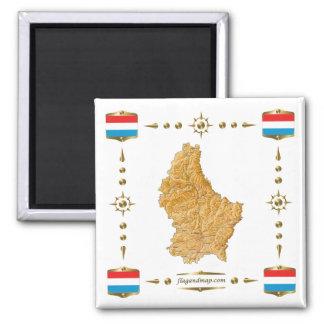 Luxembourg karta + Flaggormagnet Magnet