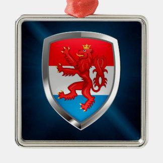 Luxembourg metallisk Emblem Silverfärgad Fyrkantigt Julgransprydnad
