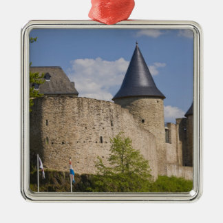 Luxembourg säkra River Valley. Bourscheid, Silverfärgad Fyrkantigt Julgransprydnad