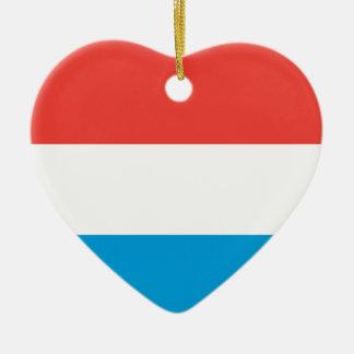 Luxembourg slättflagga hjärtformad julgransprydnad i keramik