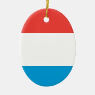 Luxembourg slättflagga ovalformad julgransprydnad i keramik