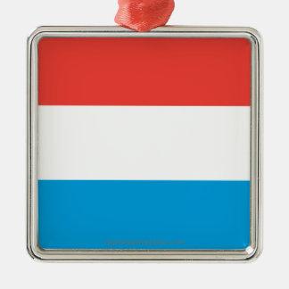 Luxembourg slättflagga silverfärgad fyrkantigt julgransprydnad