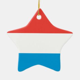 Luxembourg slättflagga stjärnformad julgransprydnad i keramik