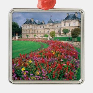 Luxembourg slott i Paris, France. Silverfärgad Fyrkantigt Julgransprydnad