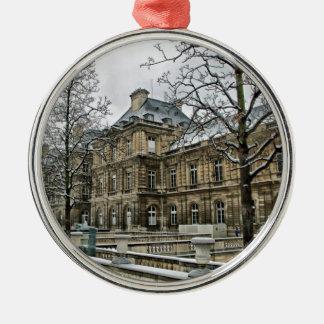 Luxembourg slott - placera av den franska senaten rund silverfärgad julgransprydnad