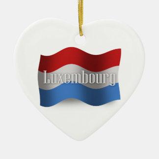 Luxembourg som vinkar flagga hjärtformad julgransprydnad i keramik