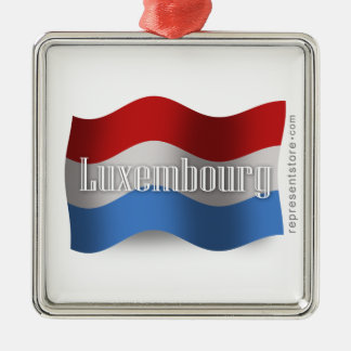 Luxembourg som vinkar flagga julgransprydnad metall