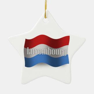 Luxembourg som vinkar flagga stjärnformad julgransprydnad i keramik