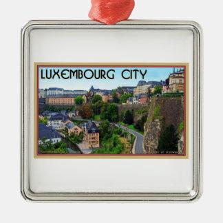 Luxembourg stad silverfärgad fyrkantigt julgransprydnad