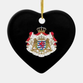 Luxembourg vapensköld hjärtformad julgransprydnad i keramik