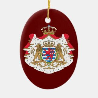Luxembourg vapensköld ovalformad julgransprydnad i keramik