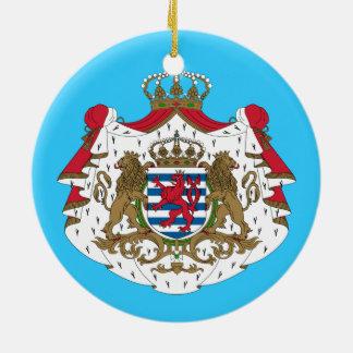Luxembourg* vapensköld rund julgransprydnad i keramik