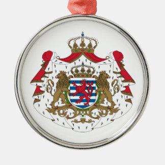 Luxembourg vapensköld rund silverfärgad julgransprydnad