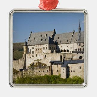 Luxembourg Vianden. Vianden Chateau (B. 15th Silverfärgad Fyrkantigt Julgransprydnad