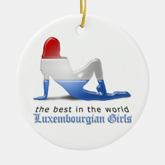 Luxembourgian flickaSilhouetteflagga Julgransprydnad Keramik