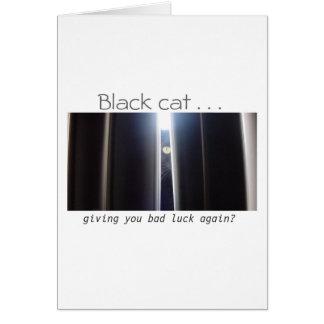 Lycka till!  (Svart katt) Hälsningskort