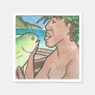 Lyckad hawaiansk fiskare pappersservetter
