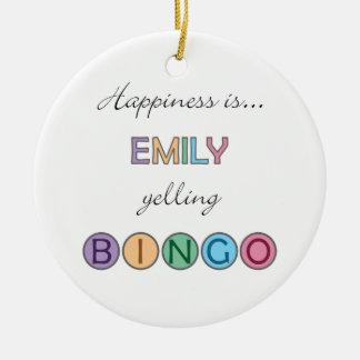 Lyckan är Emily som skriker BINGO Julgransprydnad Keramik
