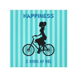 Lyckan rider min cykel - cyklistSilhouette Canvastryck