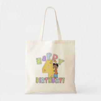 Lycklig 4e födelsedagen för pojkar, afrikansk amer tote bags