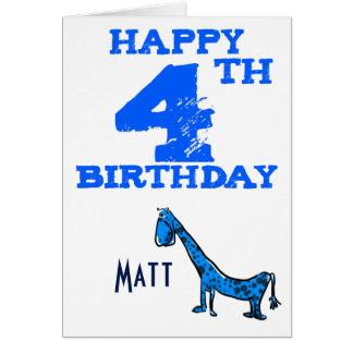 Lycklig 4e födelsedagentecknaddinosaur - pojkar hälsningskort