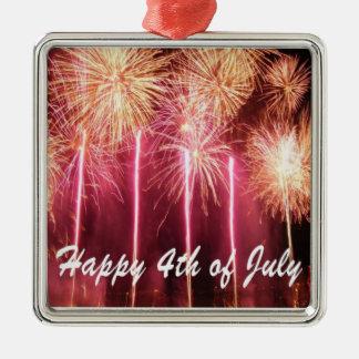 Lycklig 4th av den Juli prydnaden Julgransprydnad Metall