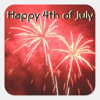 Lycklig 4th av Juli fyrverkerier Fyrkantigt Klistermärke