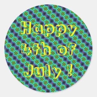 Lycklig 4th av klistermärken för runda för Juli