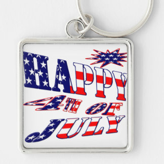 Lycklig 4th Juli Fyrkantig Silverfärgad Nyckelring