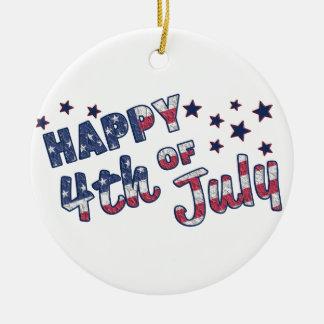 Lycklig 4th Juli Julgransprydnad Keramik