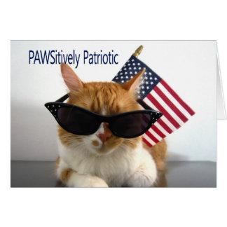 Lycklig 4th Juli - PAWSitively patriotisk katt Hälsningskort