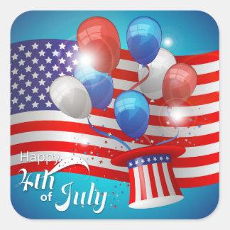Lycklig 4th patriotiska Juli Fyrkantigt Klistermärke