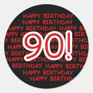 Lycklig 90:e födelsedag runt klistermärke