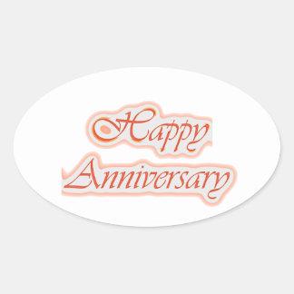 LYCKLIG årsdag: Elegant textbakgrundsfärg Ovalt Klistermärke
