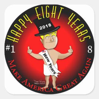 Lycklig åtta nya år fyrkantigt klistermärke